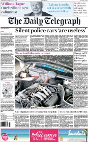 The Daily Telegraph (UK) Newspaper Front Page for 2 September 2015