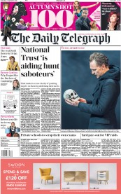 The Daily Telegraph (UK) Newspaper Front Page for 2 September 2017