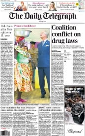 The Daily Telegraph (UK) Newspaper Front Page for 30 October 2014