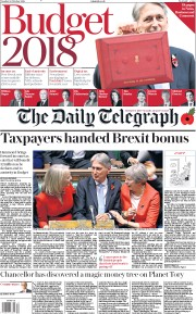 The Daily Telegraph (UK) Newspaper Front Page for 30 October 2018