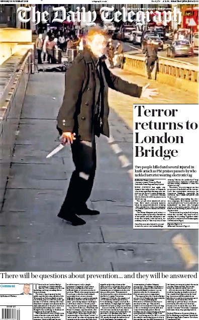 The Daily Telegraph Newspaper Front Page (UK) for 30 November 2019