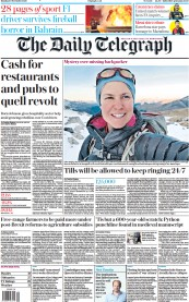 The Daily Telegraph front page for 30 November 2020
