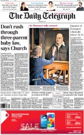 The Daily Telegraph (UK) Newspaper Front Page for 30 January 2015