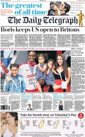 The Daily Telegraph (UK) Newspaper Front Page for 30 January 2017
