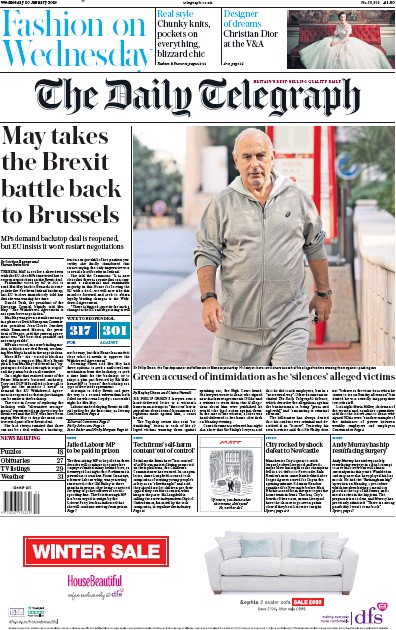 The Daily Telegraph Newspaper Front Page (UK) for 30 January 2019