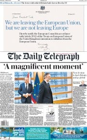 The Daily Telegraph (UK) Newspaper Front Page for 30 March 2017