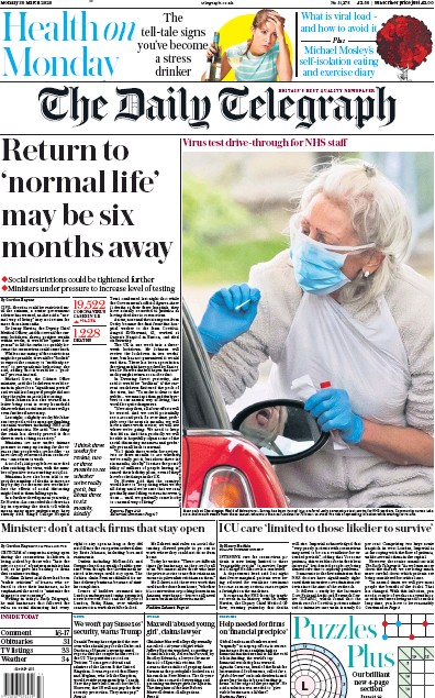 The Daily Telegraph Newspaper Front Page (UK) for 30 March 2020