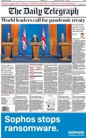 The Daily Telegraph front page for 30 March 2021