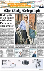 The Daily Telegraph (UK) Newspaper Front Page for 30 April 2018