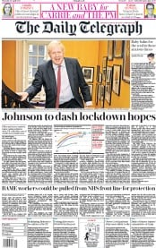 The Daily Telegraph (UK) Newspaper Front Page for 30 April 2020