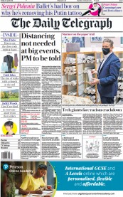 The Daily Telegraph front page for 30 April 2021