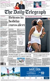 The Daily Telegraph (UK) Newspaper Front Page for 30 June 2015