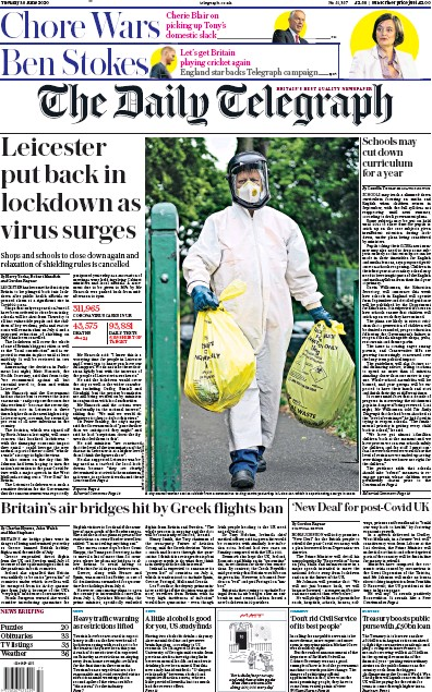 The Daily Telegraph Newspaper Front Page (UK) for 30 June 2020