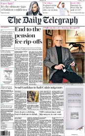 The Daily Telegraph (UK) Newspaper Front Page for 30 July 2015