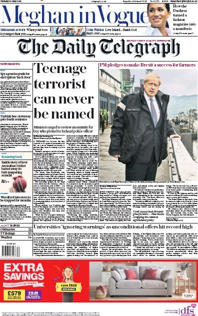 The Daily Telegraph Newspaper Front Page (UK) for 30 July 2019