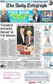 The Daily Telegraph (UK) Newspaper Front Page for 30 August 2014