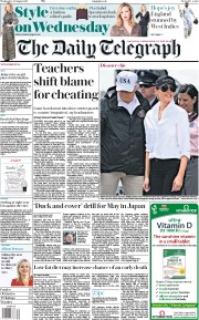 The Daily Telegraph (UK) Newspaper Front Page for 30 August 2017
