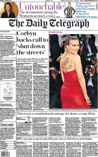 The Daily Telegraph Newspaper Front Page (UK) for 30 August 2019