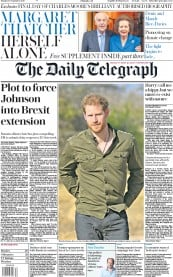 The Daily Telegraph (UK) Newspaper Front Page for 30 September 2019