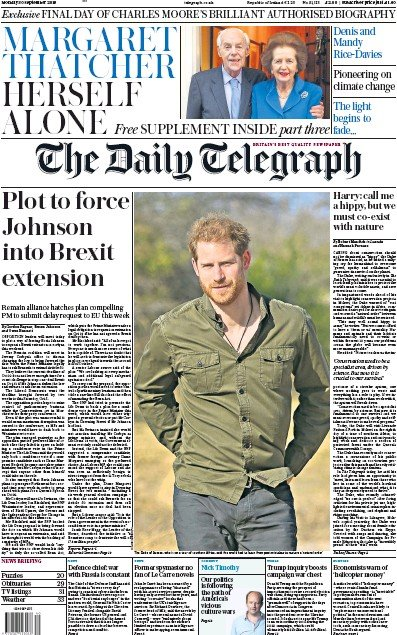 The Daily Telegraph Newspaper Front Page (UK) for 30 September 2019