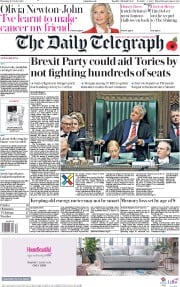 The Daily Telegraph (UK) Newspaper Front Page for 31 October 2019