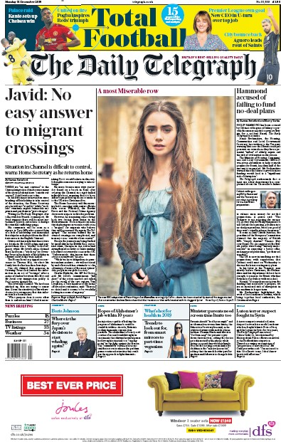 The Daily Telegraph Newspaper Front Page (UK) for 31 December 2018