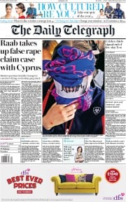 The Daily Telegraph () Newspaper Front Page for 31 December 2019