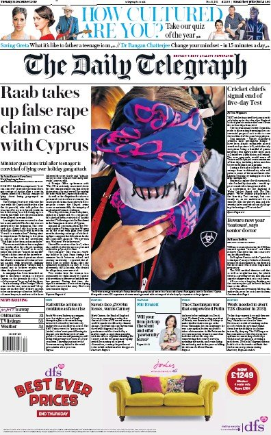 The Daily Telegraph Newspaper Front Page (UK) for 31 December 2019