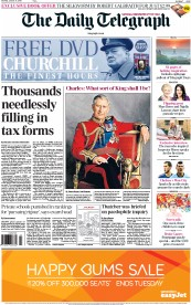 The Daily Telegraph (UK) Newspaper Front Page for 31 January 2015