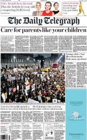 The Daily Telegraph (UK) Newspaper Front Page for 31 January 2017
