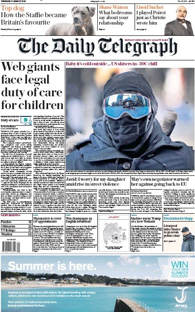 The Daily Telegraph Newspaper Front Page (UK) for 31 January 2019