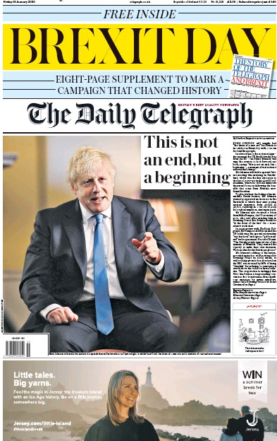 The Daily Telegraph Newspaper Front Page (UK) for 31 January 2020