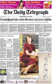 The Daily Telegraph () Newspaper Front Page for 31 March 2011