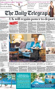 The Daily Telegraph (UK) Newspaper Front Page for 31 March 2017