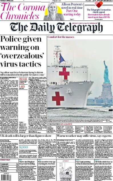 The Daily Telegraph Newspaper Front Page (UK) for 31 March 2020