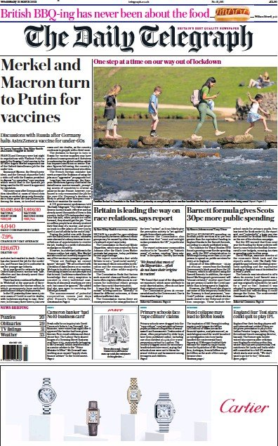 The Daily Telegraph Newspaper Front Page (UK) for 31 March 2021