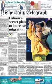 The Daily Telegraph (UK) Newspaper Front Page for 31 May 2017