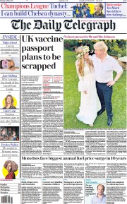 The Daily Telegraph () Newspaper Front Page for 31 May 2021