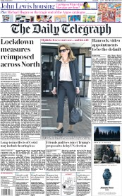 The Daily Telegraph front page for 31 July 2020