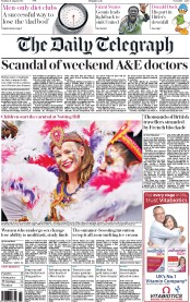 The Daily Telegraph (UK) Newspaper Front Page for 31 August 2015