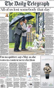 The Daily Telegraph (UK) Newspaper Front Page for 31 August 2017