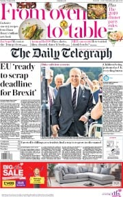 The Daily Telegraph () Newspaper Front Page for 31 August 2019
