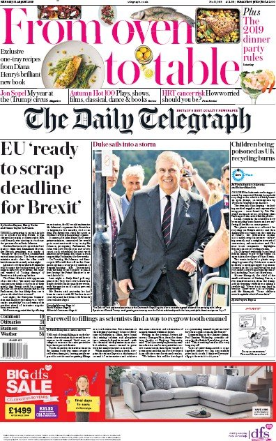 The Daily Telegraph Newspaper Front Page (UK) for 31 August 2019