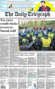 The Daily Telegraph (UK) Newspaper Front Page for 31 August 2020