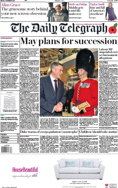 The Daily Telegraph Newspaper Front Page (UK) for 3 November 2017