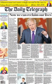 The Daily Telegraph front page for 3 December 2020