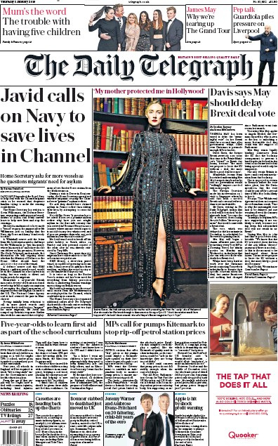 The Daily Telegraph Newspaper Front Page (UK) for 3 January 2019