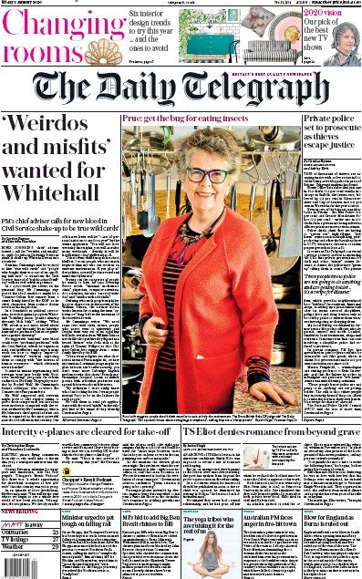 The Daily Telegraph Newspaper Front Page (UK) for 3 January 2020