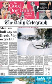 The Daily Telegraph (UK) Newspaper Front Page for 3 March 2018