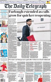 The Daily Telegraph front page for 3 March 2021
